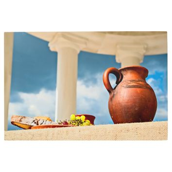 Classic antique still-life with a pitcher metal print
