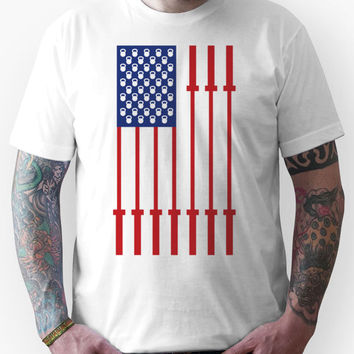 Barbell USA Flag Workout Shirt Merica Unisex T-Shirt