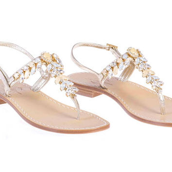 Italian Artisan Made Italian Jeweled Sandals with Tuscan Leather - Clementina, Beige Neutral Crystal Sandal with Platinum Leather