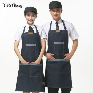 Aprons Denim With Pocket Cowboy Simple Restaurant Coffee Bar Uniform Unisex Aprons for Woman Men Kitchen Chef Cooking pinafore