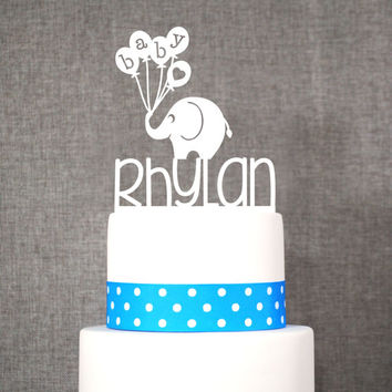 Custom Baby Name Topper With Elephant - Baby Cake Topper
