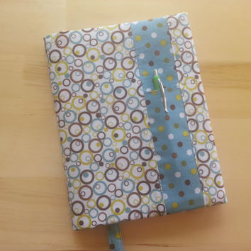 Composition Notebook Cover~ Brown, Turquoise and Lime Green Circles~ Makes a Great Gift ~ Shipping Included in the Price