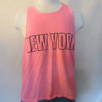 Vintage Radical 80s NEW YORK NEON Pink Classic Muscle Beach Surf Work Out Gym Medium Large Unisex Tank Top