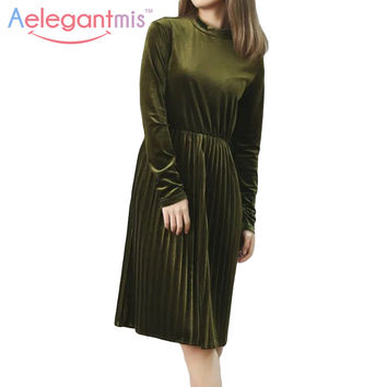 Aelegantmis Green Long Sleeve Loose Velvet Autumn Dress Women Fashion High Neck Velour Midi Dresses Ladies Pleated Spring