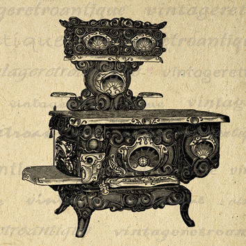 Antique Stove Graphic Printable Image Kitchen Download Digital Vintage Clip Art for Transfers Making Prints etc HQ 300dpi No.1305