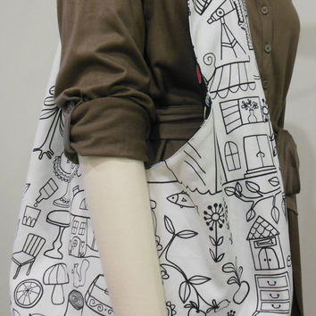 Hobo reversible bag, IKEA fabric sling bag, shoulder cotton canvas bag, slouch bag, beach bag, cross body hobo, custom bag