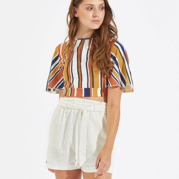 Belted Frilled Waist Solid Shorts