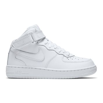 AA QIYIF Nike Air Force 1 Mid (PS)- White/White