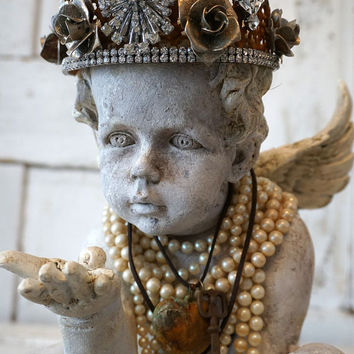 Angel Cherub Statue Rusty Rhinestone Crown Shabby Cottage Chic Distressed  Painted Faux Concrete Angelic Figure Decor