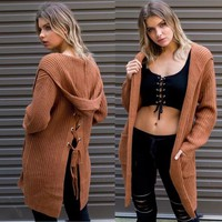 Loose Pure Color Pocket Hooded Long Loose Cardigan