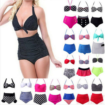 Women RETRO Pinup Rockabilly Vintage Sexy High Waist Bikinis Set Swimsuit Swimwear Push Up Bathing Suit Beachwear Bikini