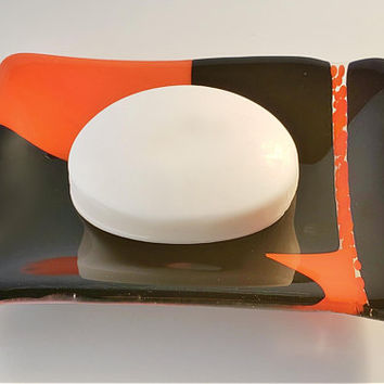 Fused Glass soap dish - candle holder - funky black and orange - ring holder - trinket dish - glass fusion - geometric pattern - soap holder