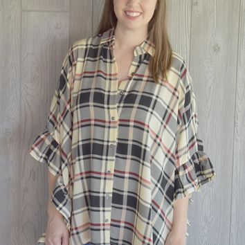 Price You Pay Ruffle Plaid Top