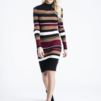 Stripe Fitted Midi Sweater Dress