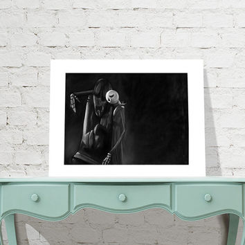 Jack's Lament - Nightmare Before Christmas - signed museum quality giclée fine art print Charcoal and Pastel