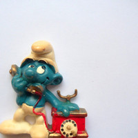Vintage Chatty Smurf Fridge Magnet 1983