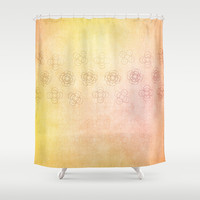 Circles within Circles, Gentle Floral banner on a textured yellow and orange background Shower Curtain by RunnyCustard Illustration