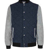 Navy and Grey Contrast Sleeve Bomber Jacket