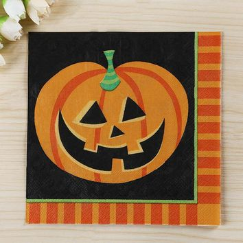 Mayitr Vintage Halloween Napkins Orange Black Series Cat Pumpkin Printed Paper Napkin Tablewarefor Home Nursery Party Supplies