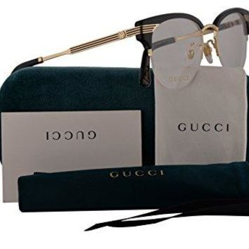 Gucci GG0201O Eyeglasses 50-18-140 Black Gold w/Demo Clear Lens 001 GG 0201O
