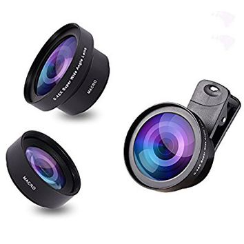 VICTONY 2 In 1 Cell Phone Camera Lens Kit Clip-On Universal Phone Lens 52mm Diameter Lens for iPhone 6 / 6s Plus / 6s / 5s, Samsung Mobile Phone (0.45 X Super Wide Angle Lens, 12.5 X Macro Lens)