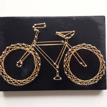 "Black + Gold Bicycle Nail + String Art 8""x5"""