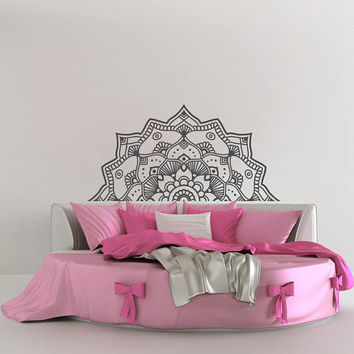 Half Mandala Vinyl Wall Decal- Headboard Wall Decal- Flower Mandala Decal Indian Decor- Mandala Wall Decal Bedroom Yoga Studio Decor Q304