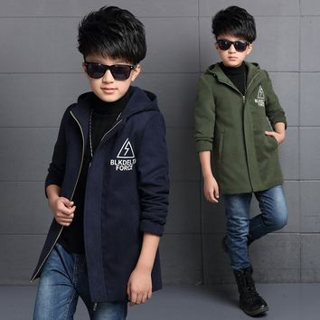 New Gentleman Style Boy Wool Coat Hooded Collar Kid Long Overcoat High Quality Thick Warm Children Fashion Outwear Jacket