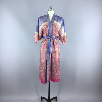 Silk Robe / Silk Sari Robe / Silk Kimono Robe / Vintage Indian Sari / Raw Silk Dressing Gown Wedding / Boho Bohemian Blue Pink Palm Trees