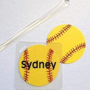 Softball Bag Tag Softball Mom Gift Softball Coach Gift Softball Team Gift Softball Par