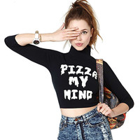 Black Pizza My Mind Printed Long Sleeve Crop Top