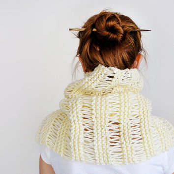 Knitted Wool Cowl, Big Women Scarf In Cream Color, Winter Circle Chunky Scarf For Men