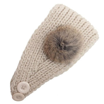 Korean Fashion Faux Fur Headbands With Pompon Ball  Warm Knitting Button Headbands For Women Hair Accessories LY SM6