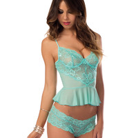 Flirty Lace and Mesh Cami Set
