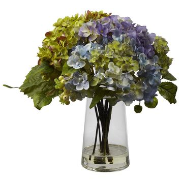 Silk Flowers -Hydrangea With Glass Vase Artificial Plant