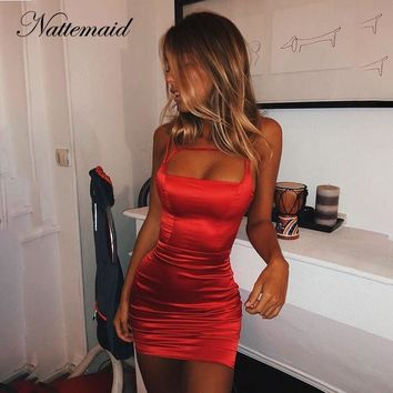 NATTEMAID Solid Color Black Red Summer Dress Women Clubwear Mini Sexy Dresses Strapless Backless Bandage Bodycon Dress Vestidos