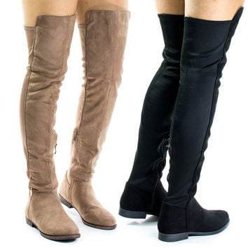 Willy2Liliana Taupe By Liliana, Faux Fur Lined Over Knee Flat Boots w Elastic Back Panel