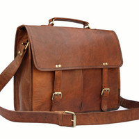 Handmade15 inch Twin Pocket Leather Messenger Bag / Satchel / Laptop Bag / MacBook Bag / Shoulder Bag - Vintage Retro Look