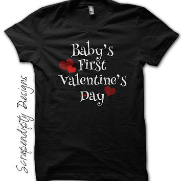 Baby's First Valentine's Day Shirt - Newborn Baby Outfit / Boys Valentine's Day Tshirt / Cut Kids Clothing / Kids Red Heart Tee / Black