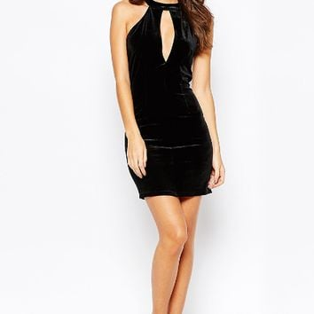 Hollow Out Halter Neck Slim Bodycon Dress