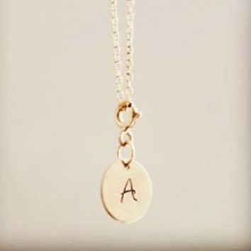 Add On Personalized Charm, Initial Disc Charm, 14k Gold Filled Monogram