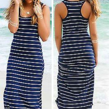 Women Summer Sexy Long Maxi Party Long Sleeve Dress Seaside Beach Dress Sundress