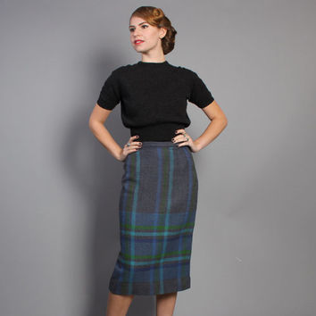 50s PLAID Pencil SKIRT / Dusty Blue & Green WOOL, s