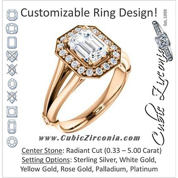Cubic Zirconia Engagement Ring- The Madison Taylor (Customizable Radiant Cut Halo Design with Split Band and Dual Round Side-Knuckle Accents)