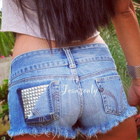 Studded shorts Low waist studded denim shorts low rise jeans shorts by Jeansonly