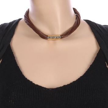 Brown Hammered Metal Barrel Twisted Multi Cord Necklace