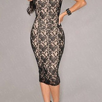 Black Cut Out Floral Lace Bodycon Dress