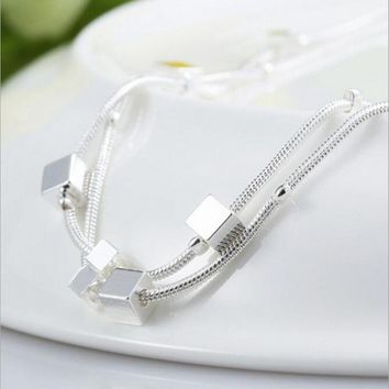 Atmosphere Creative 925 Sterling Silver Jewelry Sweet Fashion Simple Multi-layer Box Female Personality Bracelet   SB21