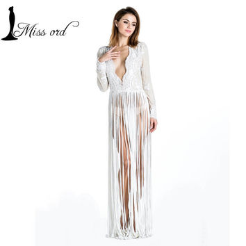 Free Shipping Missord 2015 Sexy lace stitching tassel Long sleeve waist shawl sequin dress FT3603