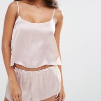 ASOS Chiffon Side Satin Cami & Short Pajama Set at asos.com